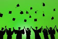 庆祝教育毕业学会Concep的学生成功 免版税图库摄影