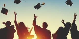 庆祝教育毕业学会Concep的学生成功 库存图片