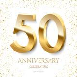 庆祝文本和五彩纸屑在白色背景的金黄第50周年 传染媒介庆祝50周年事件 库存例证