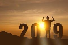 庆祝新年2019现出轮廓站立和享用在山,小山的上面的自由年轻希望女商人 免版税库存照片