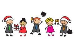 庆祝新年的动画片商人 库存照片