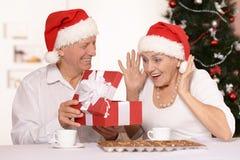 庆祝新年的成熟夫妇 免版税库存图片