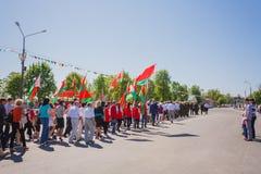 庆祝日烟花花喜欢胜利 戈梅利,白俄罗斯- 5月9 :庆祝 免版税图库摄影