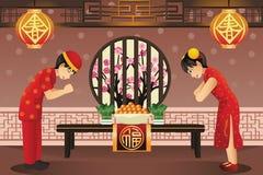 庆祝春节的中国孩子 免版税图库摄影