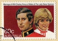 庆祝查尔斯的婚姻澳大利亚邮票和 库存照片