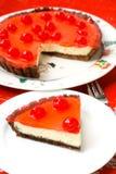 庆祝樱桃乳酪蛋糕点心 免版税库存图片
