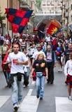 庆祝橄榄球热那亚小组 免版税库存照片