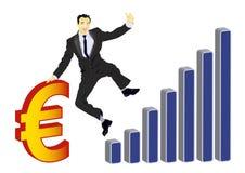 庆祝欧元的生意人 免版税库存图片