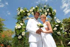 庆祝海岛热带婚礼 库存照片