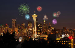 庆祝烟花西雅图 免版税库存图片