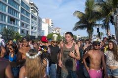 庆祝狂欢节Ipanema里约热内卢巴西的人群 库存图片