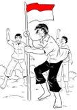 庆祝独立日的印度尼西亚人民 皇族释放例证