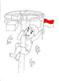 庆祝独立日的印度尼西亚孩子 向量例证
