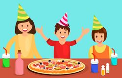 庆祝生日平的例证的同学 库存例证
