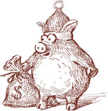 庆祝的小猪 免版税图库摄影