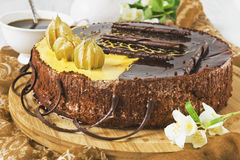 庆祝的巧克力蛋糕 免版税库存图片