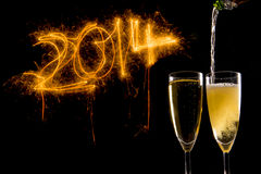 庆祝的新年香宾玻璃 免版税图库摄影