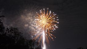 庆祝的明亮的五颜六色的烟花显示 库存图片