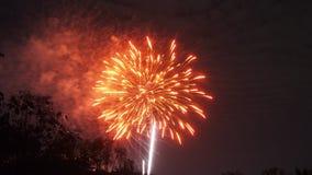 庆祝的明亮的五颜六色的烟花显示 免版税库存照片