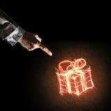 庆祝的概念与火灼烧的礼物标志和busines的 免版税库存照片