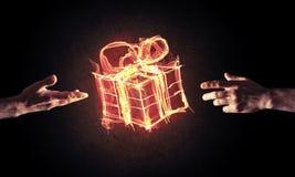 庆祝的概念与火灼烧的礼物标志和creatio的 免版税库存照片