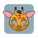 庆祝的长颈鹿面具 免版税库存照片