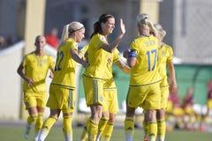 庆祝目标的女性足球运动员 库存照片