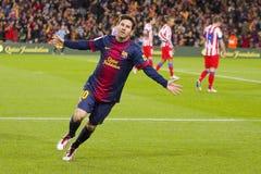 庆祝目标的Messi 免版税图库摄影