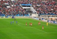 庆祝目标足球 免版税库存图片