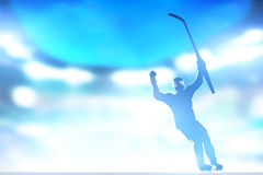 庆祝目标,胜利的曲棍球运动员用手和黏附  免版税库存照片