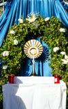 庆祝科珀斯克里斯蒂(身体基督)亦称语科库Domini宴餐  免版税库存照片
