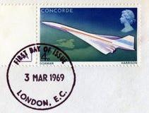 庆祝第一次协和飞机飞行的邮票 免版税库存照片