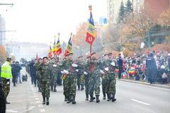 12/01/2018 - 庆祝罗马尼亚国庆节的军队编组在蒂米什瓦拉,罗马尼亚 免版税库存图片