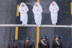 庆祝罗马尼亚的国庆节的军事游行 库存照片