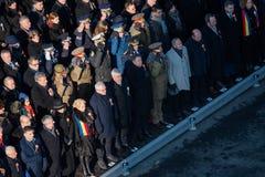 庆祝罗马尼亚的国庆节的军事游行 免版税库存图片