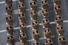庆祝罗马尼亚的国庆节的军事游行 图库摄影