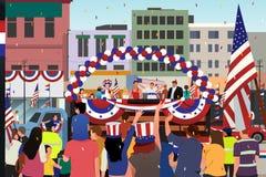 庆祝美国独立纪念日游行例证的人们 图库摄影
