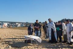 庆祝耶稣洗礼俄罗斯正教会教区的在杜罗河河附近的 免版税图库摄影