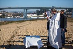 庆祝耶稣洗礼俄罗斯正教会教区的在杜罗河河附近的 免版税库存照片