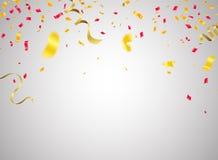 庆祝背景有五彩纸屑红色ribb的模板华伦泰 皇族释放例证