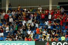 庆祝胜利的欢腾的安道尔足球迷在Estadi纳雄奈尔 安道尔1 - 0饥饿的合格者世界杯2018年 库存图片