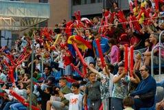 庆祝胜利的欢腾的安道尔足球迷在Estadi纳雄奈尔 安道尔1 - 0饥饿的合格者世界杯2018年 免版税图库摄影