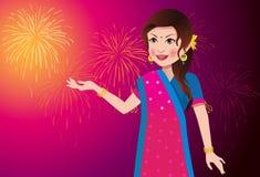 庆祝节日的印地安妇女 免版税图库摄影