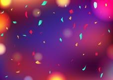 庆祝落党模糊的五颜六色的Bokeh抽象背景装饰的五彩纸屑,贺卡节日事件概念传染媒介 皇族释放例证