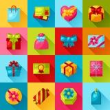 庆祝象套五颜六色的礼物盒 库存例证