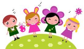庆祝逗人喜爱的复活节愉快的孩子集会春天 向量例证
