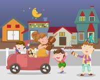 庆祝镇街道传染媒介 免版税库存图片