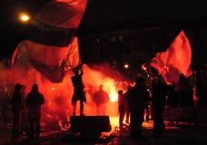 庆祝风扇足球 免版税图库摄影