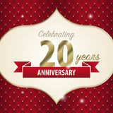 庆祝20年周年 金黄样式 向量 库存图片