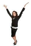 庆祝兴奋成功的女实业家 免版税图库摄影
